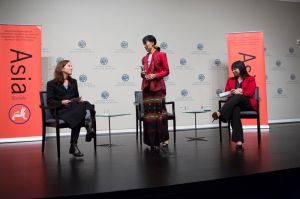 Aung San Suu Kyi with me and Suzanne Di Maggio at USIP event,  Washington, DC, September 2012 (Photo Credit:    )