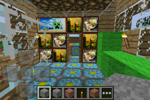Art wall that Calvin created in my Minecraft house he built for me.