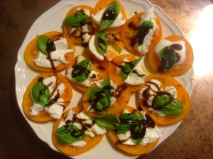 Made a Caprese salad with the basil and yellow tomatoes growing well.