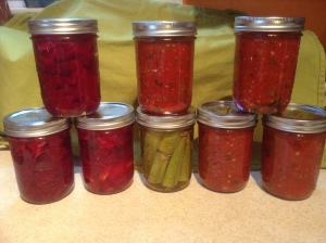 My canned beets, okra and spaghetti sauce from tomatoes.